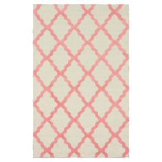 Anchor your living room seating group or define space in the den with this hand-hooked wool rug, featuring a trellis print in a bubble gum-inspired hue....