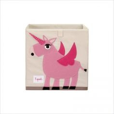 Organic Storage Box - Unicorn The 3 Sprouts storage box is the perfect storage solution for any room in your house. Made from 100% polyester with stiff sides reinforced by cardboard, allowing the box to always stand at attention when you need it but fold away flat when you don't. Its unique square shape fits perfectly into many cubed shelving units. Each box has the signature 3 Sprouts bright, eco-spun felt applique.