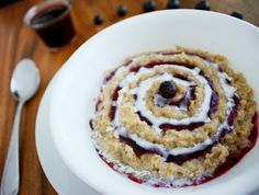 Blueberries and Cream Oatmeal - So tasty. I can't wait to use the rest of the blueberry syrup on things!