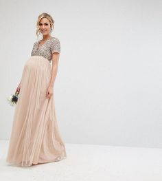 Maya Maternity V neck Maxi Tulle Dress with Tonal Delicate Sequins | maternity fashion | maternity clothes | maternity dress | maternity bridesmaid | maternity wedding | #affiliate