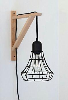 DIY draadlamp icm met wandhaak