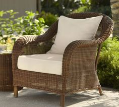 Not sure what kind of chair is suitable for outside, guess wicker w a cushion could be ok. Not convinced on this style of chair per se, but love the high back/ high level of comfort to sit for extended periods.    Would need a side table for drinks etc, wonder to the extent there is room for two chairs outside.