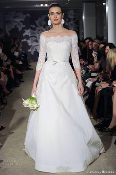 http://www.weddinginspirasi.com/2014/07/04/carolina-herrera-bridal-spring-2015-wedding-dresses/ carolina herrera spring 2015 bridal carmen off the shoulder #wedding dress sleeves #weddings #weddingdress