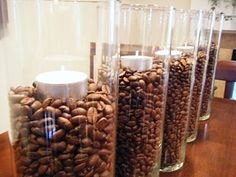 decorate with coffee beans...and it smells nice too!