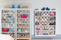 """The bookcase and the pink vase is from Dollhouse Emporium. I made most of the books. The boxes are all Lego. The birds are Re-Ment. The """"foo dogs"""" are plastic lion beads that I painted and coated in gloss medium."""