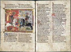 Wirnt von Grafenberg, Wigalois  Un roman arthurien allemand  Amelungsborn, 1372  Parchemin, 118 f., 241 x 170 mm (2 col. de 27-28 lignes)  Leyde, Universiteitsbibliotheek, ms. LTK 537 (f. 71 v°)  http://www.pinterest.com/nemesissatine/tristan-and-iseult/
