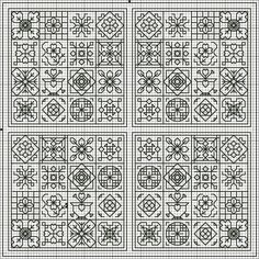 Flores no Jardim - Lee Albrecht: Free blackwork pattern.