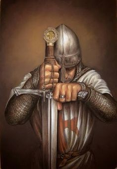 Medieval knight Templar with helmet in the Norman style. Probably or early century Idade Média Imagens e Cotidiano Knight In Shining Armor, Knight Armor, Paladin, Military Orders, Armadura Medieval, Medieval Knight, Medieval Times, Chivalry, Knights Templar