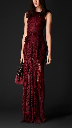 Floor-length Embroidered Lace Dress | Burberry