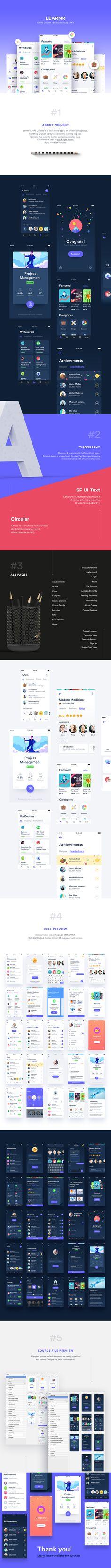 Learnr - Online Courses Educational App UI Kit on Behance Mobile Ui Design, App Ui Design, User Interface Design, Module Design, Site Vitrine, Applications Mobiles, App Design Inspiration, Mobile App Ui, User Experience Design