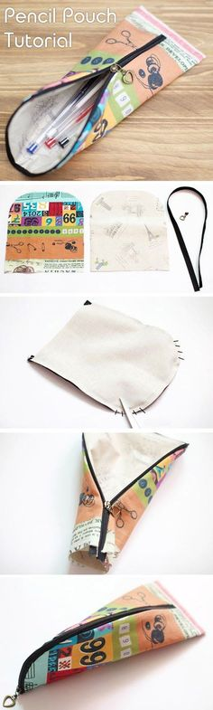 How to sew a pencil case or make up bag with a zip DIY tutorial. http://www.handmadiya.com/2015/11/pencil-pouch-tutorial.html: