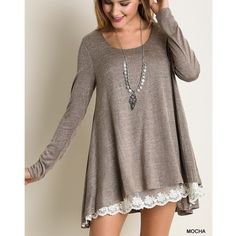 """1DAYSALE """"Nothing Twice"""" Lace Hem Tunic Top Lace hem long sleeve tunic top. Available in black, tan or mocha. This listing is for the MOCHA. Loose fit. Model is wearing the size small. Brand new. NO TRADES DON'T ASK. Bare Anthology Tops Tunics"""
