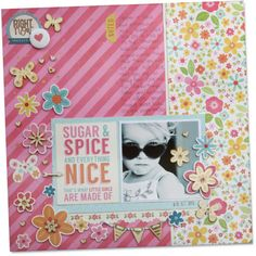 Everything you need to complete these two gorgeous layouts with lots to spare!  Kit includes:   	Sugar & Spice Papers (7 total)  	2 x Sugar & Spice Accessory Stickers  	1 x Hello Lovely Alphabet Stickers  	Sugar & Spice Wood Veneer Shapes  	Assorted cork hearts & twine  	Printed Instructions  RRP of items if purchased separately is over $35.