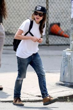 ellen page white shirt and denims
