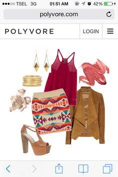 Stiletto Kain. Navajo Skirt Outfit. Fucshia Top. Everbest 1for2.