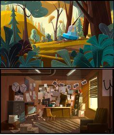 serie infantil Jamie's Got Tentacles!_PRODUCE Samka Productions. Autoria conjunta entre Gael BECU (background paintings) Y Thomas GREFFARD (Backgrounds design).