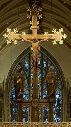 Crucifix at Our Lady of Lourdes in London. Catholic Crucifix, Catholic Art, Religious Art, Catholic Pictures, Jesus Christ Images, Cathedral Architecture, Cathedral Church, Anglican Cathedral, Old Churches