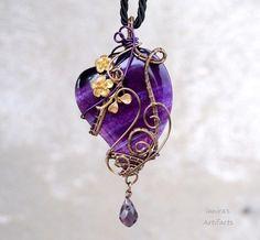 Purple heart wire wrapped pendant by IanirasArtifacts.deviantart.com on @deviantART