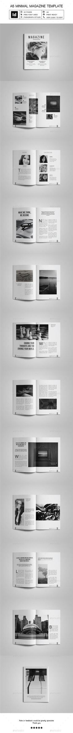 A5 Minimal Magazine Template — InDesign INDD #editable #multipurpose magazine • Available here ➝ https://graphicriver.net/item/a5-minimal-magazine-template/20791612?ref=pxcr