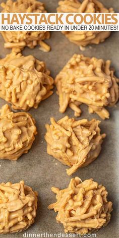 Haystack cookies are an easy no bake cookie with white chocolate, butterscotch chips, peanut butter and chow mein noodles you can make in under 20 minutes! # no bake Desserts How to Make Haystack Cookies (in 20 minutes!) - Dinner, then Dessert Easy No Bake Cookies, No Bake Treats, No Bake Cookie Recipe, Peanut Butter Chocolate No Bake Cookies Recipe, Cookies With Butterscotch Chips, Peanut Butter Haystacks Recipe, Butterscotch Haystacks, Chocolate Haystacks, Oatmeal No Bake Cookies