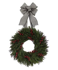 Houndstooth Holiday Wreath by Floral Treasure #zulily #zulilyfinds