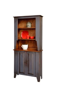 Amish Handcrafted Shaker Hutch Finished In Distressed 2-Tone Blue With Heritage Stain