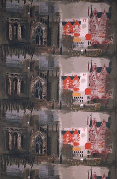 'Northern Cathedral', furnishing fabric, John Piper, 1961. Museum no. CIRC.586-1963