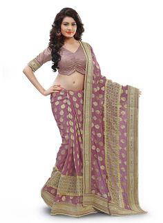 #Pink #Jacquard #Designer #Saree #nikvik  #usa #designer #australia #canada #freeshipping #dress #saris