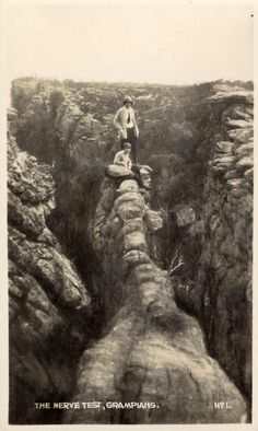 The Nerve Test, Wonderland Range, Grampians. State Library of Victoria. Camping Crafts, Camping Hacks, Rocky Creek, Before The Flood, Camping Outfits, Victoria Australia, Outdoor Stuff, Mountain Range, Back In The Day