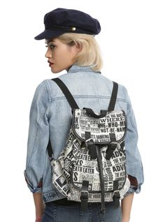 HARRY POTTER DAILY PROPHET PRINT SLOUCH BACKPACK | Stay up to date on the latest wizarding world news with a Daily Prophet slouch backpack. Harry Potter may be the Boy Who Lived, but you're the one with all the details. Snap closure front pockets and a drawstring add security for your spell books.