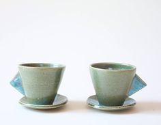 Cup and Saucer Set for 2 - Teacups coffee cups by JenniOhCrafts on Etsy