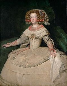 Portrait of the Infanta Maria Theresa of Spain 1653 by Diego Velasquez. She wears the cartwheel farthingale, which, in Spain, was adapted late and retained it long after it had disappeared elsewhere. The Infanta's hairstyle is also typical of the Spanish court, 1653.