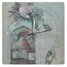#Birdcage Blossom #Square Wall #Clock