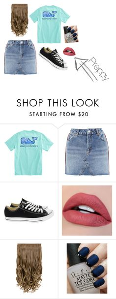 """""""Preppy"""" by dress-sophie ❤ liked on Polyvore featuring Topshop, Converse and OPI"""