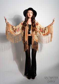 Fringe Kimono Jacket, flares and hat.... boho look