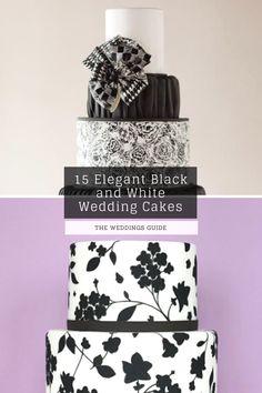 Elegant Black and White Wedding Cakes #whitecakes