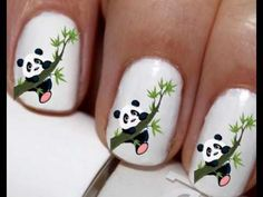 20 pc Panda Bear Nail Art Panda Bears Panda Love by EasyNailTrends Animal Nail Designs, Animal Nail Art, Cute Nail Designs, Neon Nail Art, Neon Nails, Pastel Nails, Panda Nail Art, Seahawks Nails, Football Nail Art