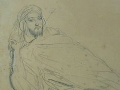 CHASSERIAU Théodore,1846 - Arabe allongé - drawing - Détail 04