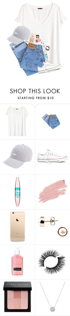 """""""Embrace the glorious mess that you are. // Erin Leigh"""" by southern-preps1 ❤ liked on Polyvore featuring H&M, Levi's, Converse, Maybelline, Jane Iredale, A B Davis, Bobbi Brown Cosmetics and Kendra Scott"""