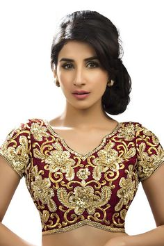 Maroon & gold festive wear blouse with curved v neck -BL563 | Fashionable blouse designs | #maroonblouse #gold