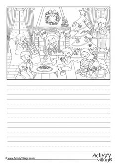 Use our cosy winter scene story paper to inspire the kids to write a creative story set at Christmas time, or to write about their own Christmas? English Writing Skills, English Lessons, Teaching English, Picture Story Writing, Writing Pictures, Creative Writing Worksheets, Writing Activities, English Grammar Exercises, Picture Composition