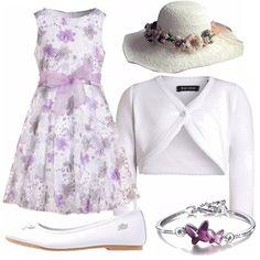 Un outfit pensato per una bambina di 10 anni, elegante e dai colori delicati. Vestito smanicato in fantasia floreale, nei freschi toni del bianco e lilla, bolerino bianco, ballerina bianca, cappellino in paglia con motivo di fiori, bracciale argentato con farfalline. Perfetto per una cerimonia!