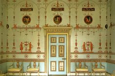 Delicate symmetry...The Etruscan Room at Osterley Park, 1773-74; the painted ornaments on the walls and ceilings are the work of Pietro Maria Borgnis,designRobert Adam (1728- 1792)...  From...  http://a-l-ancien-regime.tumblr.com/