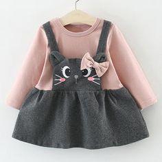 Bebé niña ropa de invierno algodón gato Bowknot Bebé Vestidos otoño lindo  recién nacido Niño ropa 758f7172b1d0
