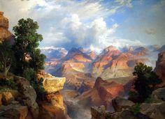 The Grand Canyon by Thomas Moran. Born on this day Thomas Moran Thomas Moran, Art Thomas, Landscape Art, Landscape Paintings, Landscape Photos, Landscape Photography, Edward Moran, Hudson River School, Art Reproductions