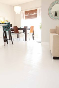 beach house in the city: white hardwood floors: chapter 3 & room tour: living room & dining room