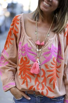 What a stunning top! Those colours work perfectly together.