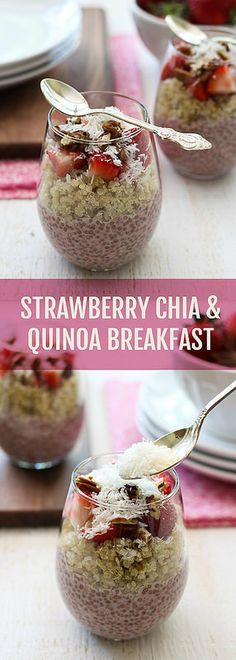 "Chia and Quinoa Breakfast Perfect for a hot summer morning or as a ""take it to work in a jar"" small meal.Perfect for a hot summer morning or as a ""take it to work in a jar"" small meal. Breakfast And Brunch, Quinoa Breakfast, Healthy Breakfast Recipes, Healthy Snacks, Healthy Recipes, Strawberry Breakfast, Healthy Tips, Strawberry Summer, Snacks Recipes"