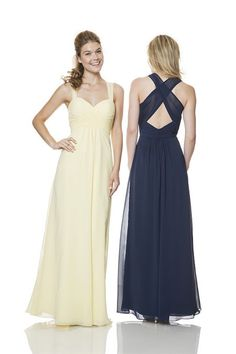 Sheath Sweetheart Empire Waist Long Pale Yellow Chiffon Ruched Bridesmaid Dress With Straps