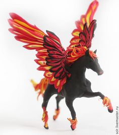 Fire Pegasus Horse Skulpture Figurine Art by DemiurgusDreams, $90.00